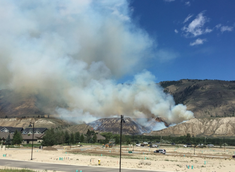 Updated: Grass fire on East Shuswap Road across from Valleyview