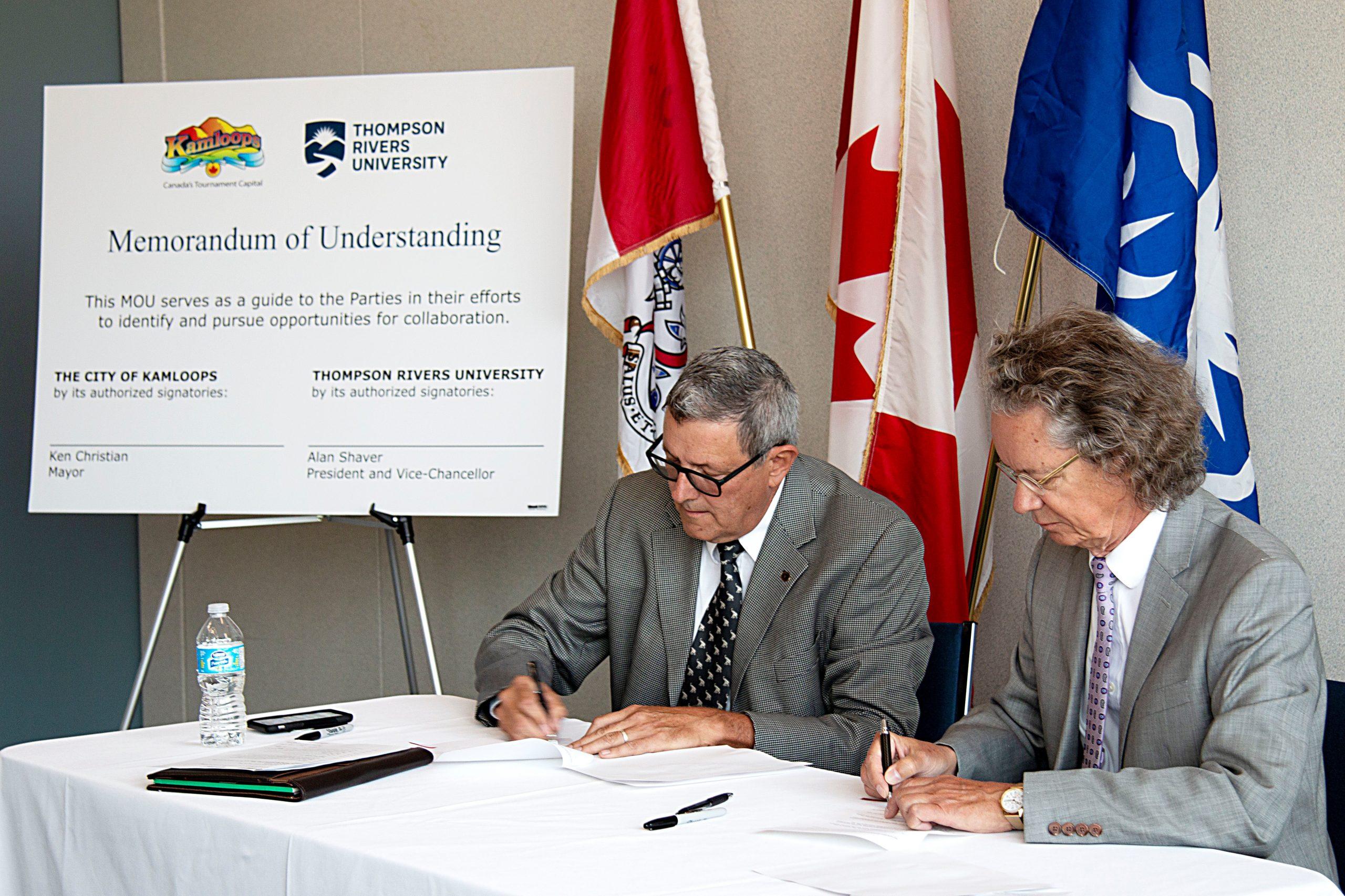 Memorandum of Understanding signed by TRU and City of Kamloops