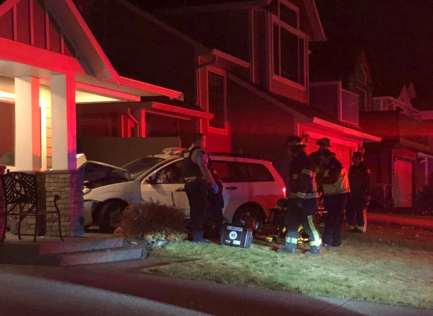 Updated: Suspected impaired driver crashes car into Kamloops home
