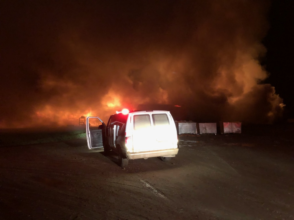 Fire Destroys Pig Barn Near Plenty