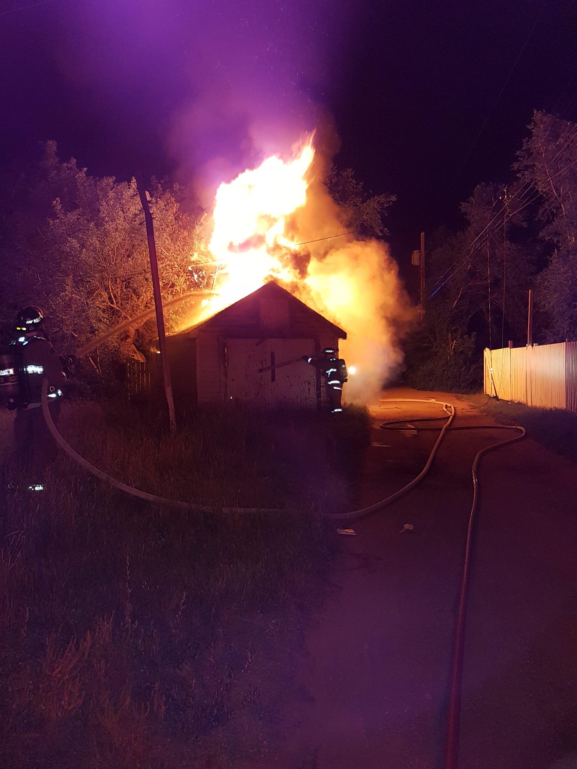 Garage Fire Takes Down Power Line