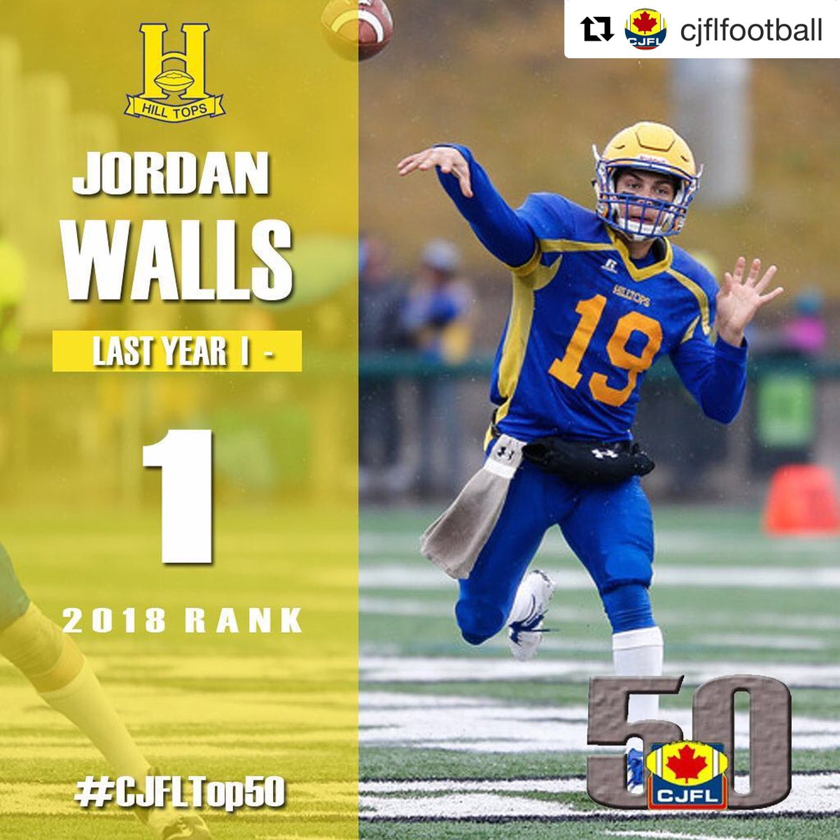Hilltops' QB Walls Garners Weekly P-F-C Offensive Honour