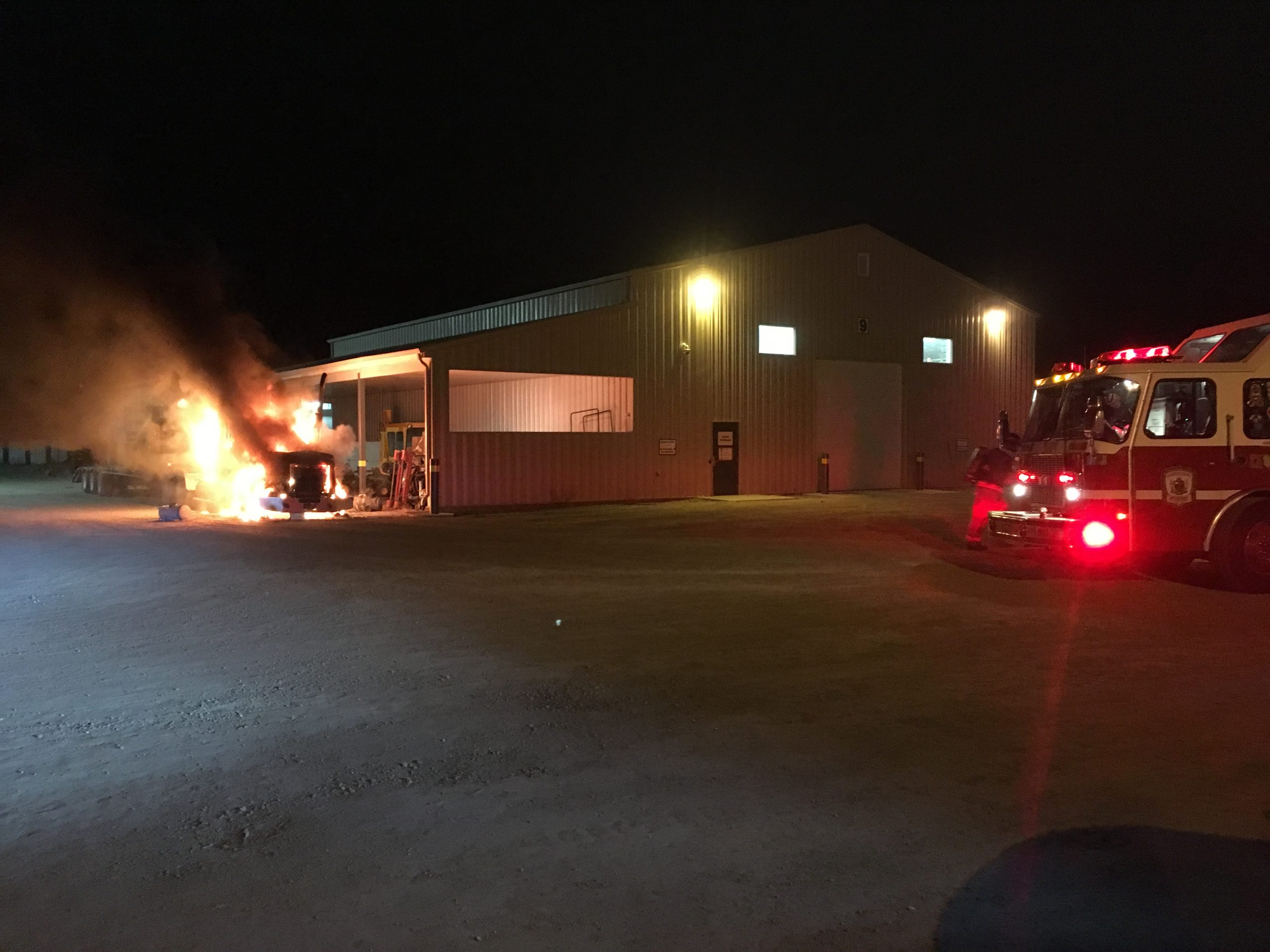 Semi Catches Fire in Locked Compound
