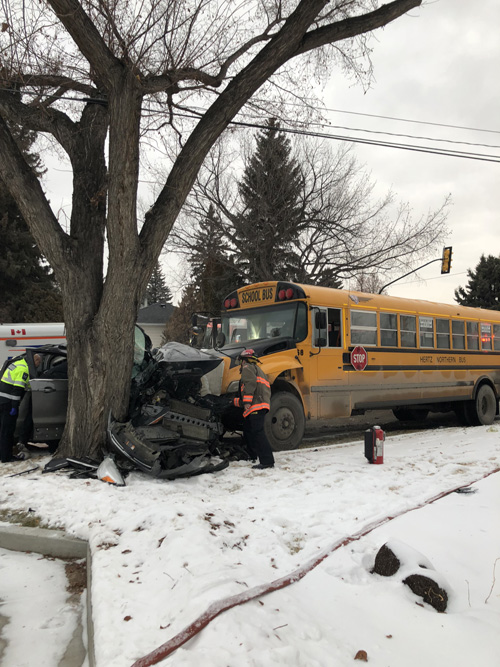 Minor Injuries Only From School Bus-SUV Collision