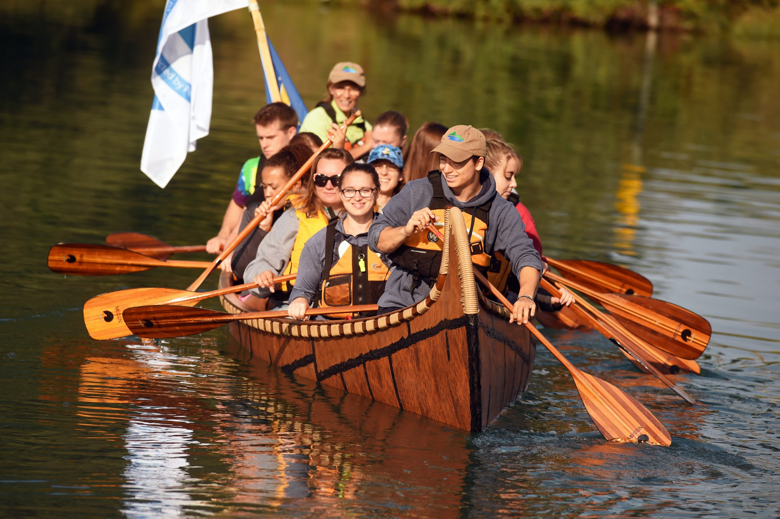LSSU Students Try Out 17th Century Canoe Replica