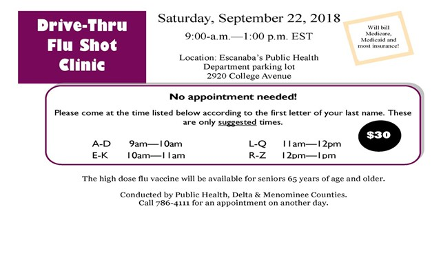 Delta County Drive-Thru Flu Shot Clinic Set Sept. 22