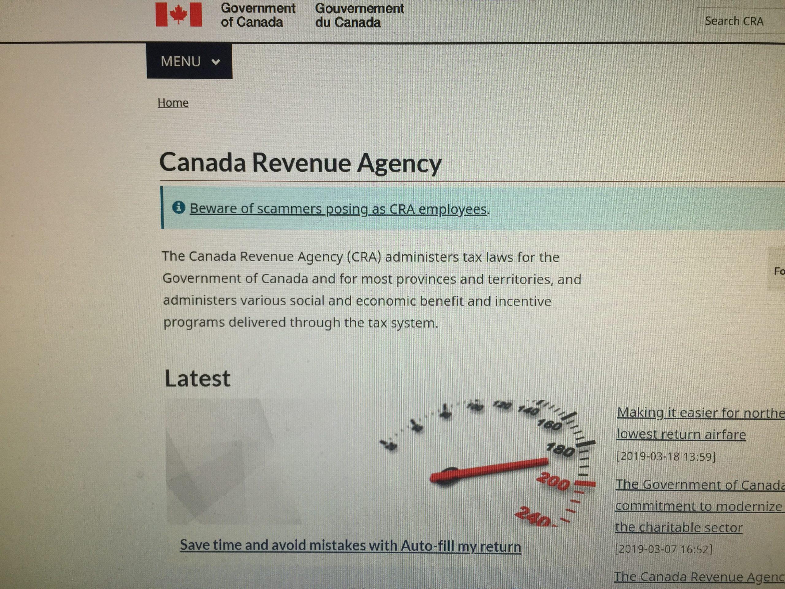 Canada Revenue Agency Back Online   Y95 5