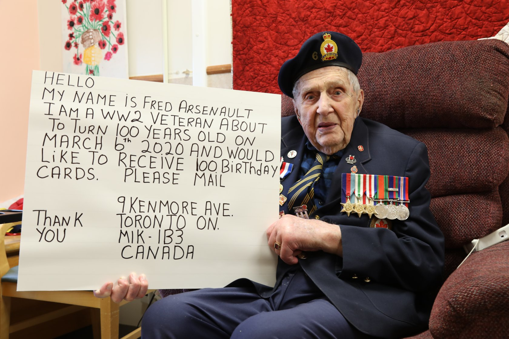 Second World War Vet Asks To Receive Cards For 100th