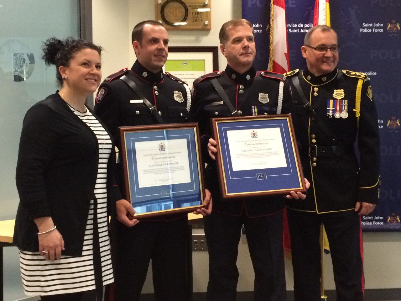 Two Saint John Police Officers Receive Gold Commendation