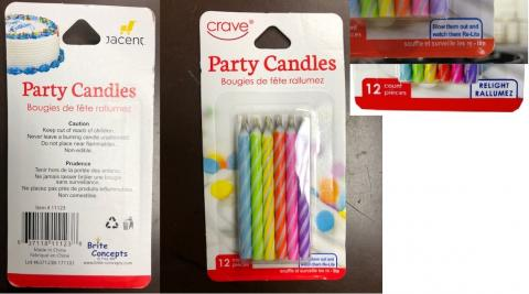 Re-Igniting Party Candles Recalled