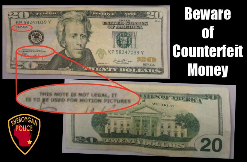 Counterfeit $20 Bills Circulating Sheboygan