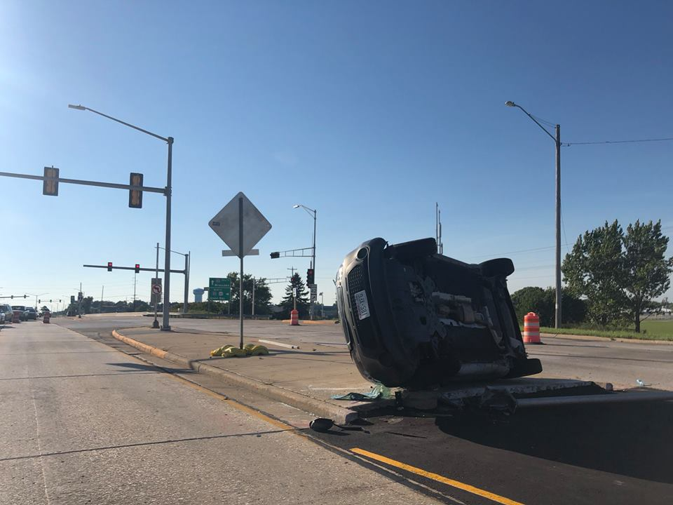 Attempted Traffic Stop Ends in Rollover Crash in Manitowoc