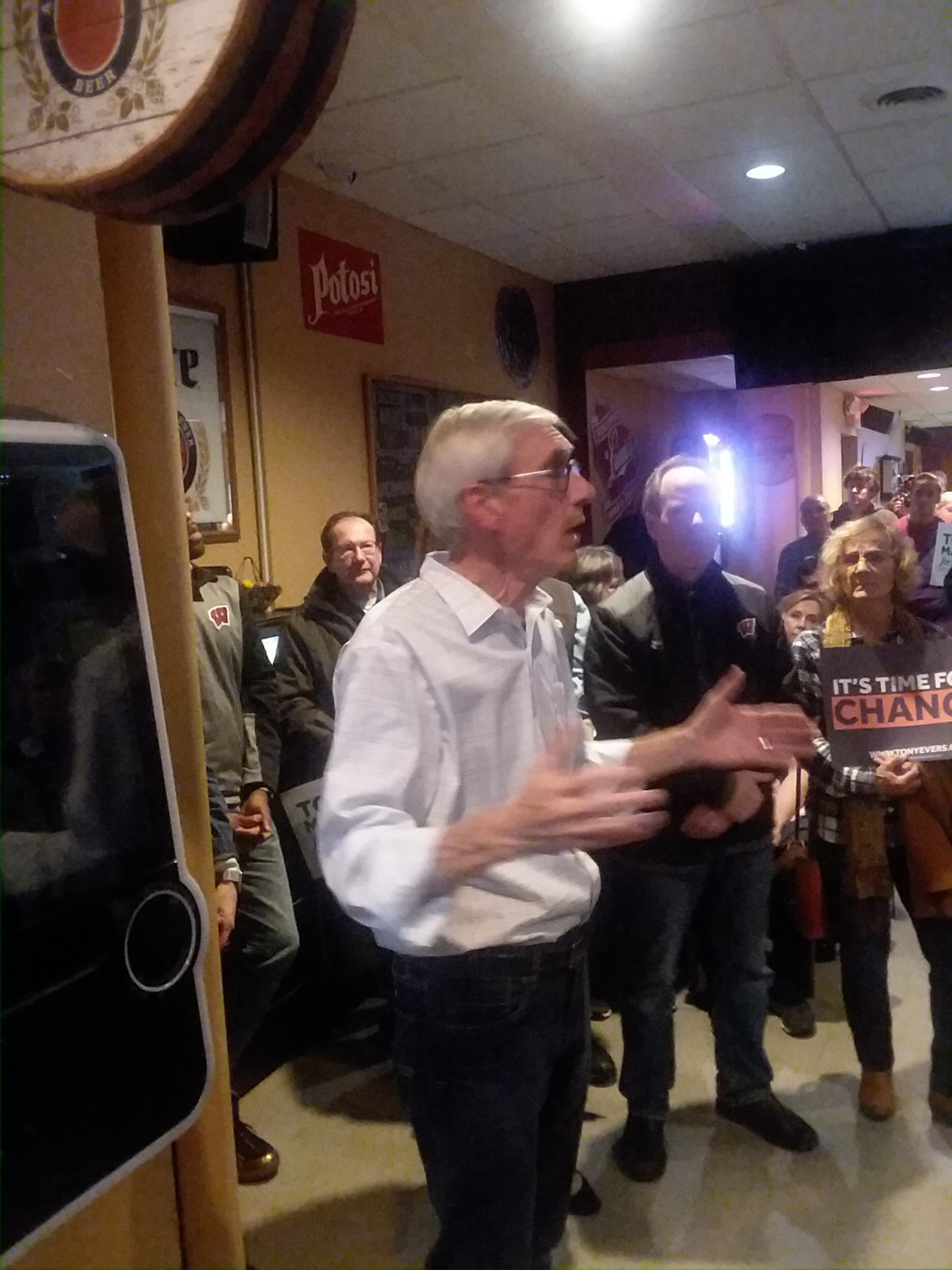 Evers makes a School Bus Tour stop in Manitowoc Friday Night