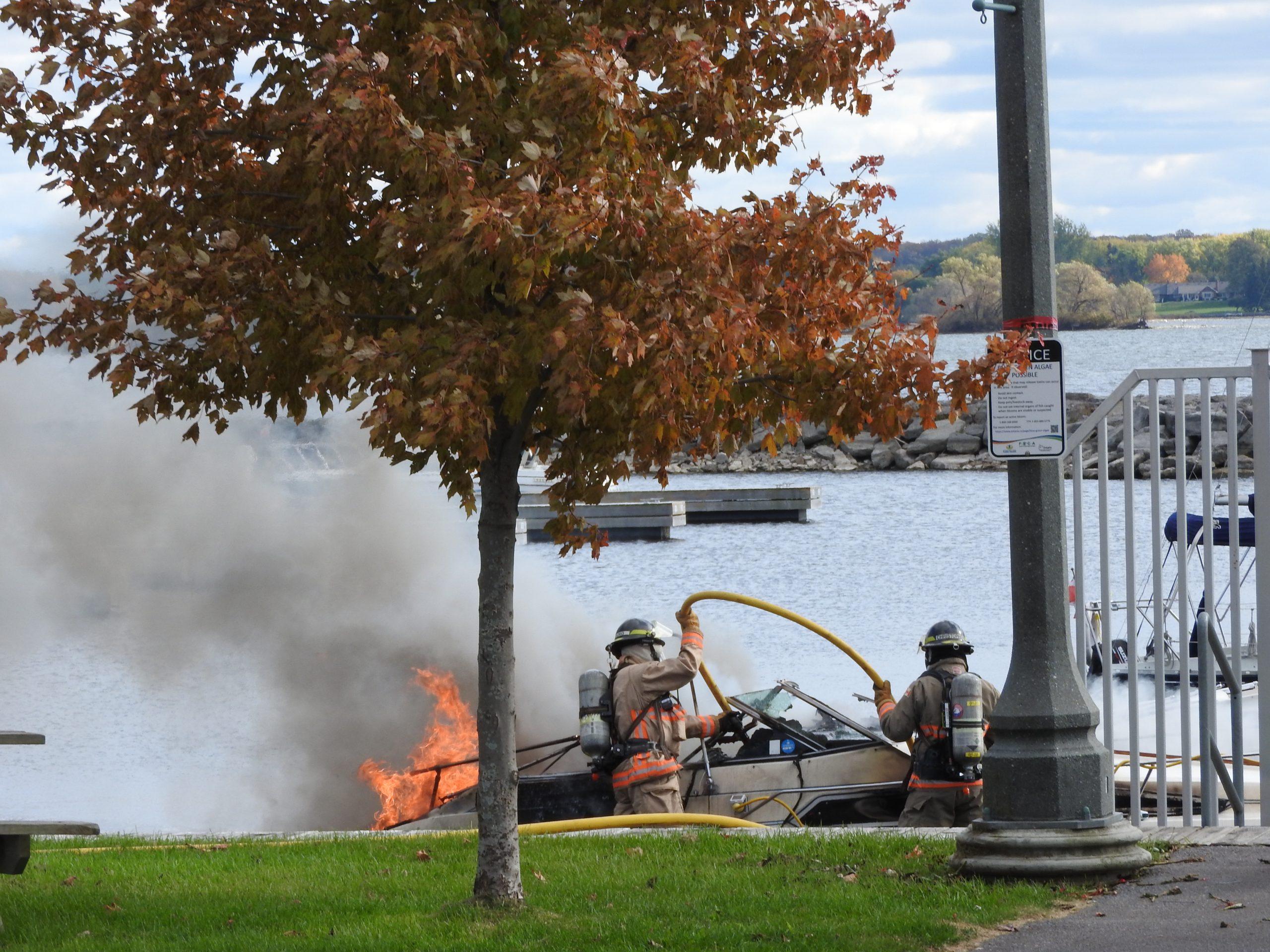 Boat fire at Meyers Pier in Belleville