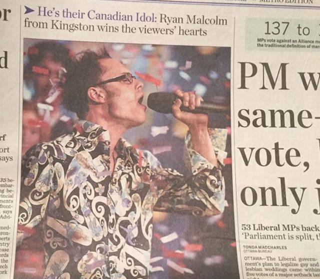 Canadian Idol Ryan Malcolm, looks back 15 years