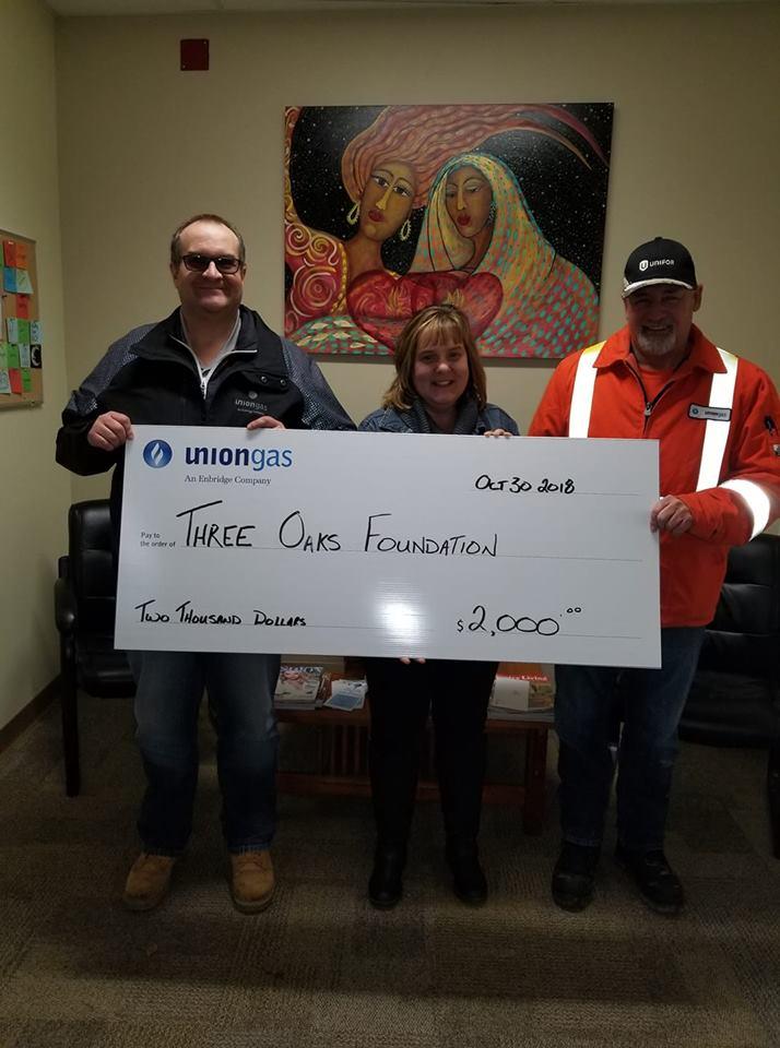 Union Gas donates to Three Oaks Foundation