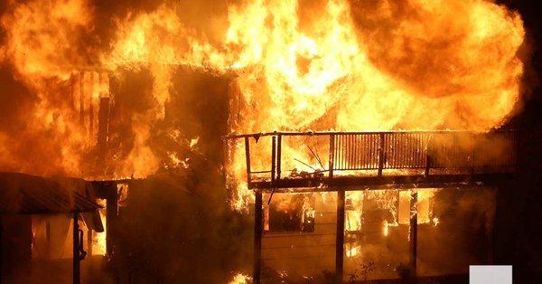 Rice Lake area house burns down