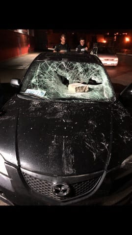 Panels and car wrecked by vandals