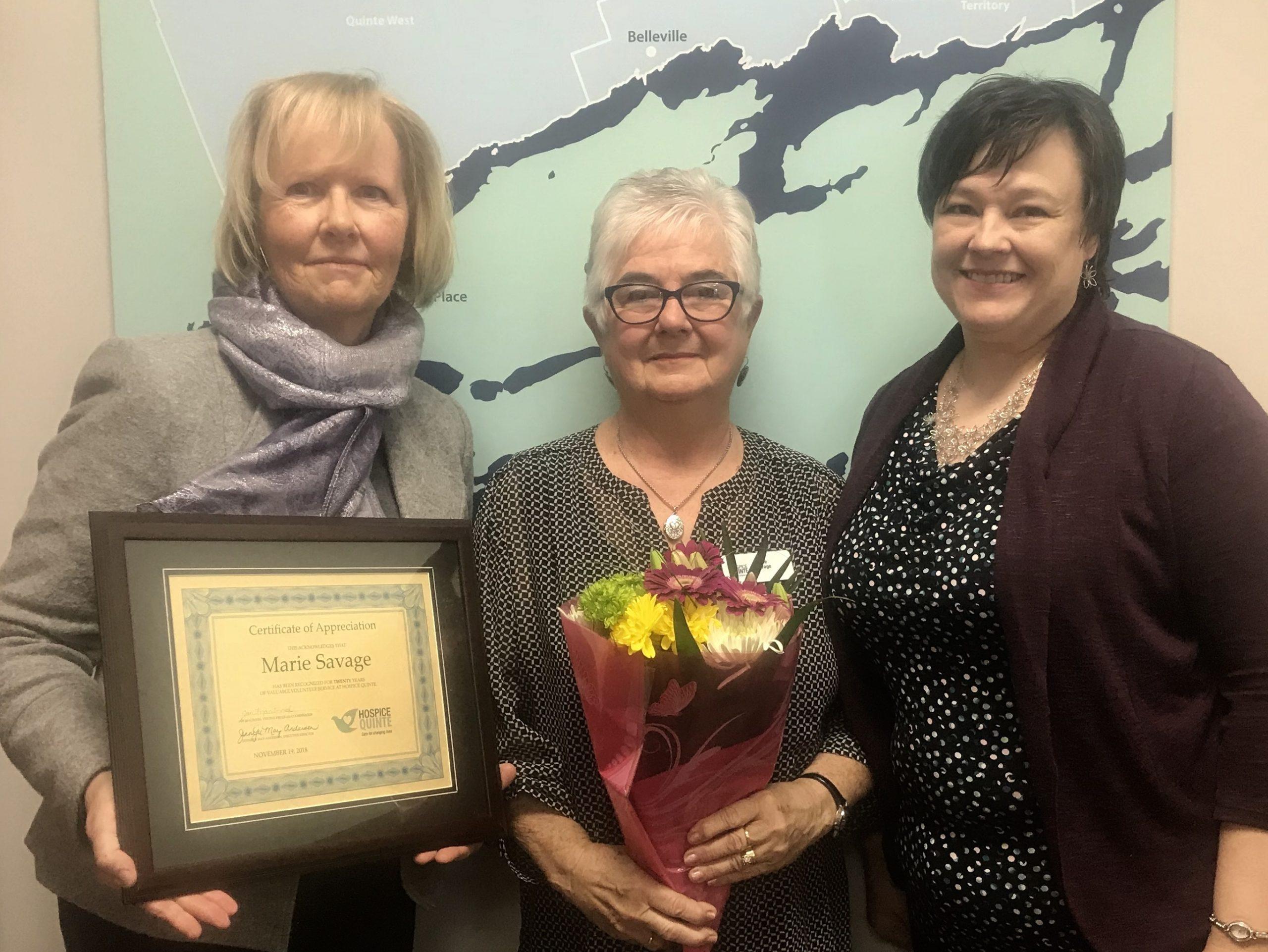 Recognizing Hospice Quinte volunteer