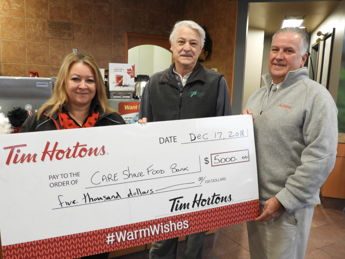Tim Horton's donation to Trenton food bank