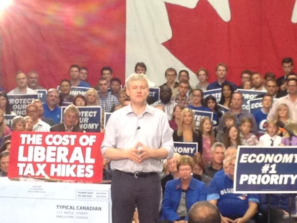 Harper makes appearance in London, attacks Liberal tax plan