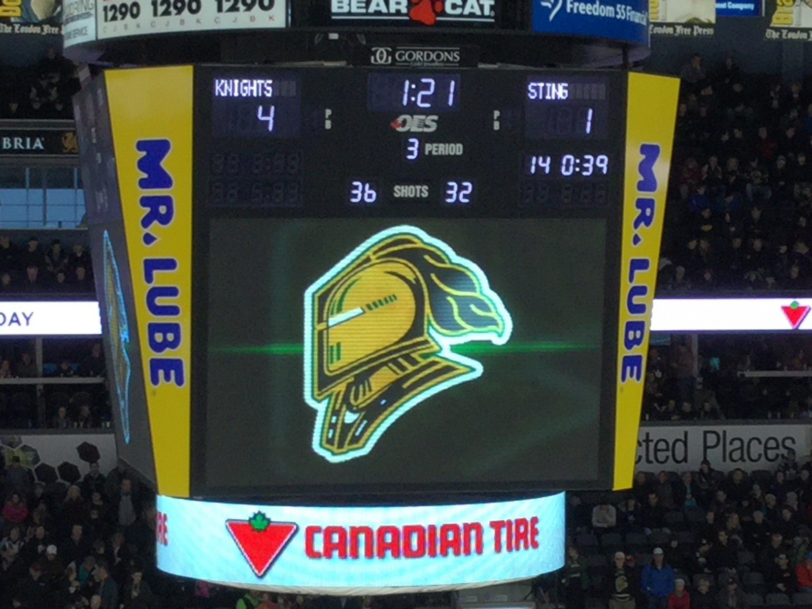 Knights sting Sarnia - game ends in melee