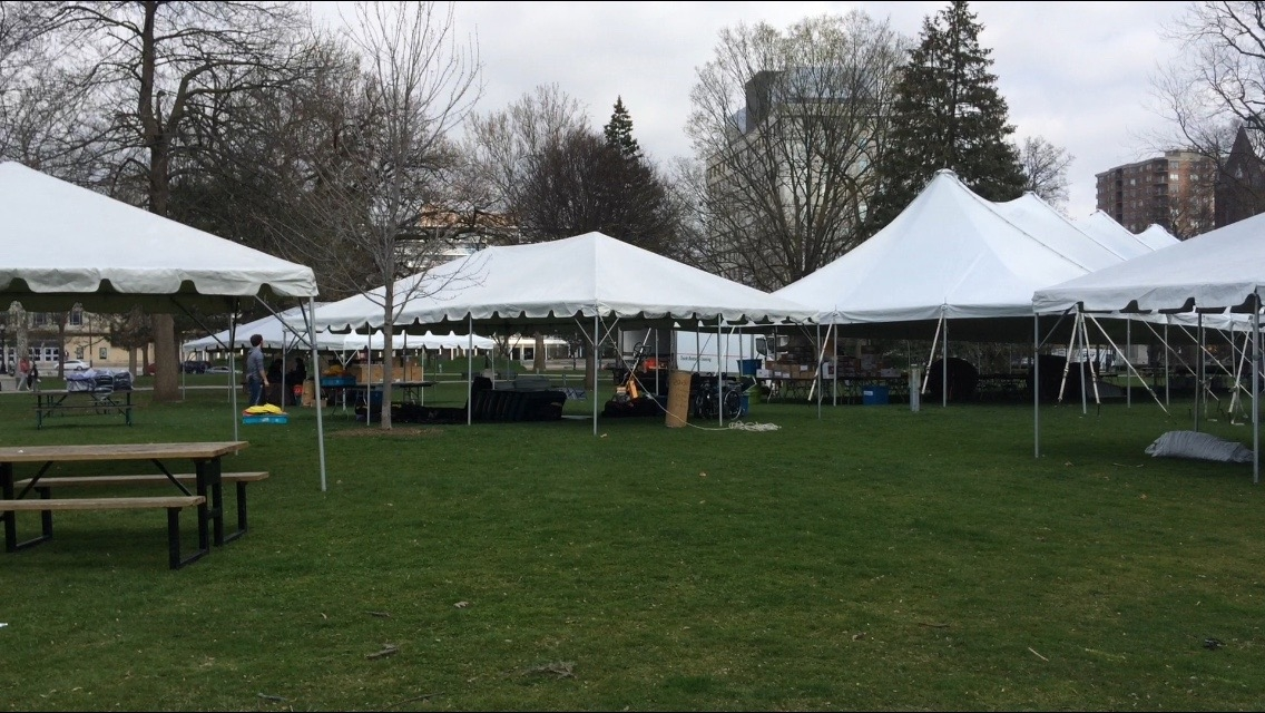 Vendors set up for Forest City Road Races this weekend