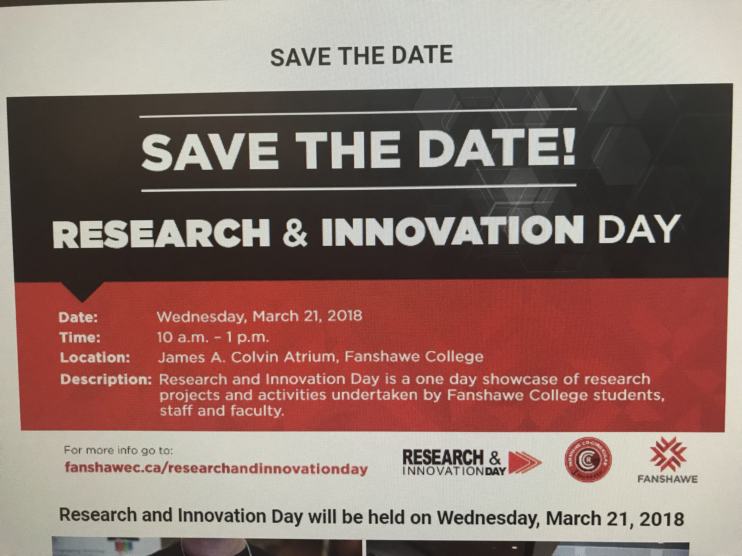 Preview on Research and Innovation Day at Fanshawe College
