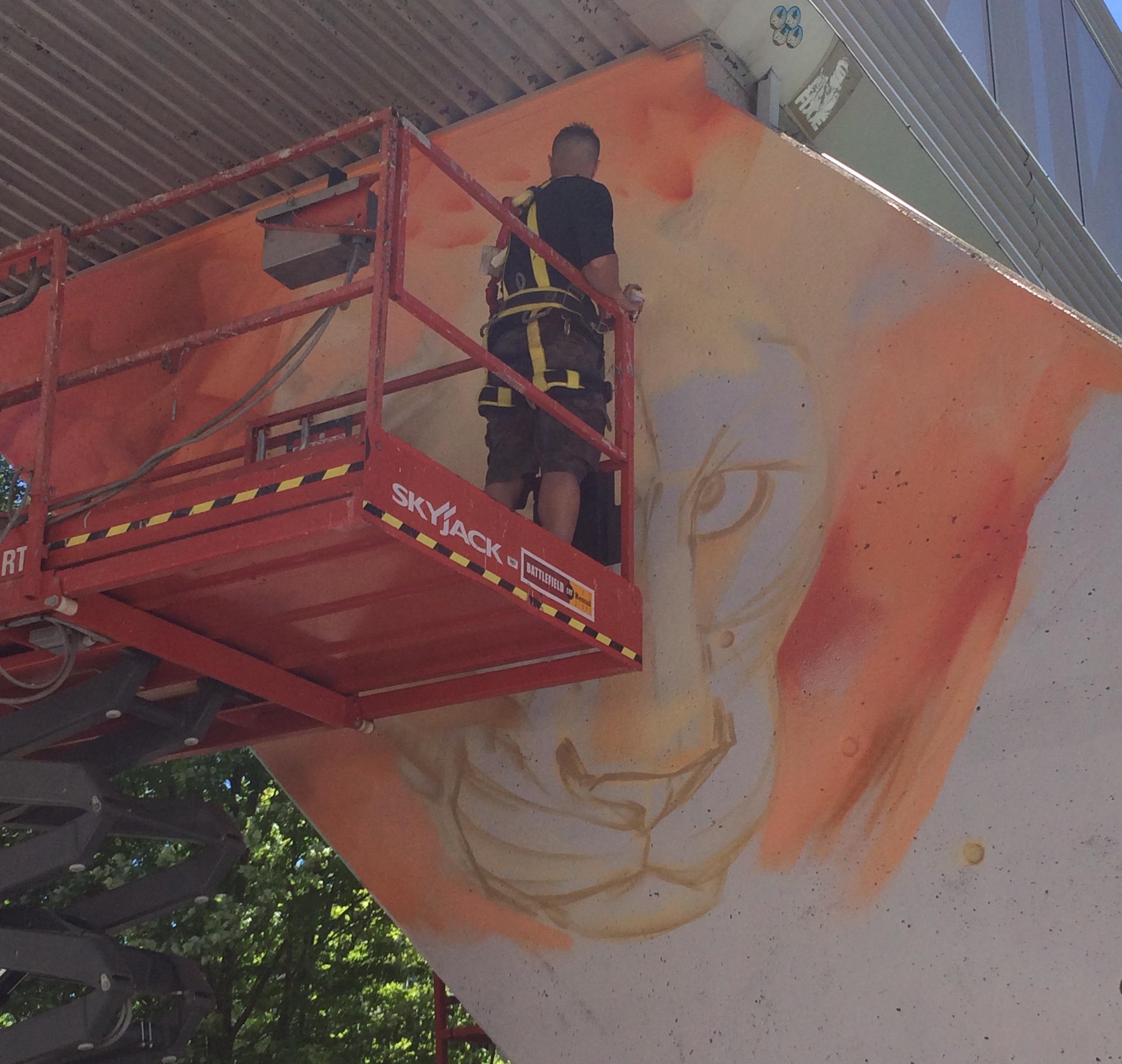Masterpiece London: Graffiti artists transforming skyway bridge over King Street