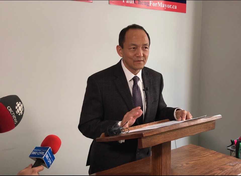 Paul Cheng speaks out at a press conference about media trying to 'smear' his campaign