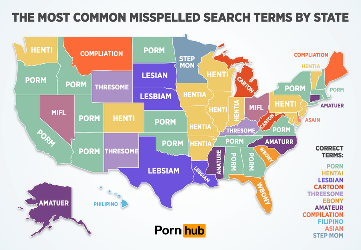 The most misspelled Porn Search words by state.