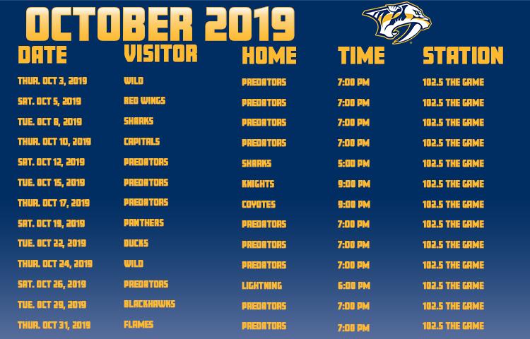 Predators Schedule | The Game Nashville