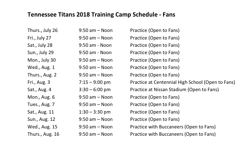 TITANS: 2018 Training Camp Schedule Announced | The Game