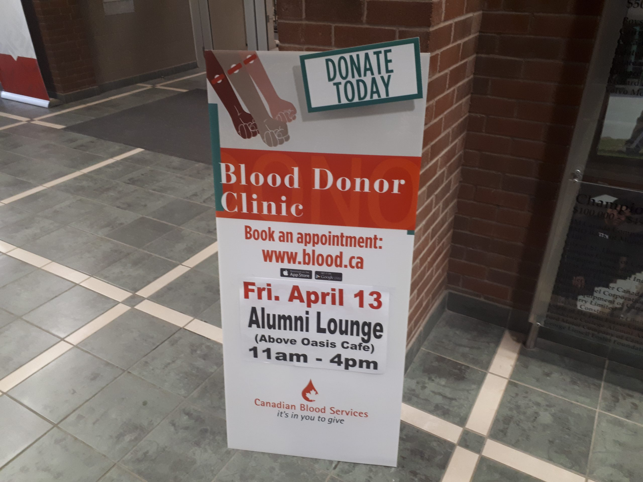 Blood donor clinic at Fanshawe