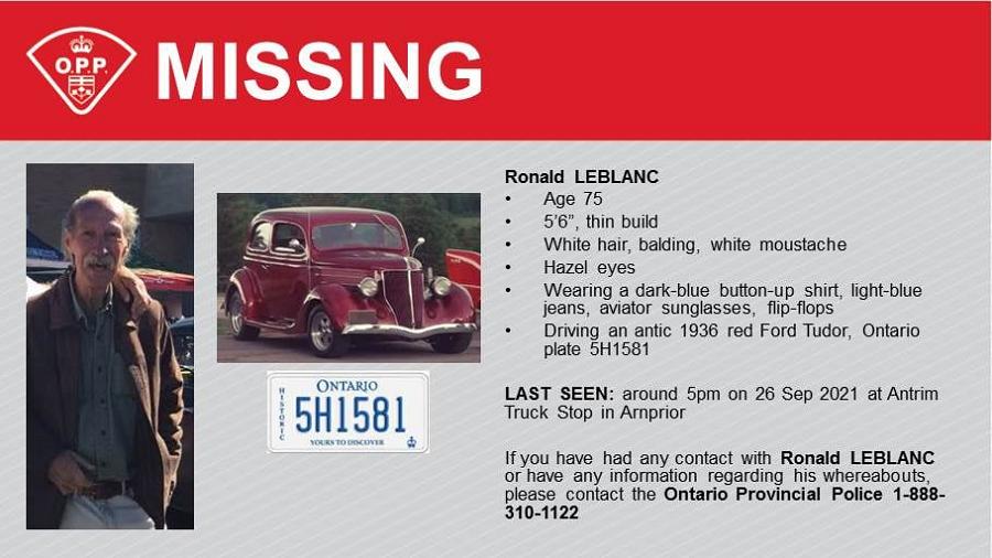Renfrew OPP searches for missing man
