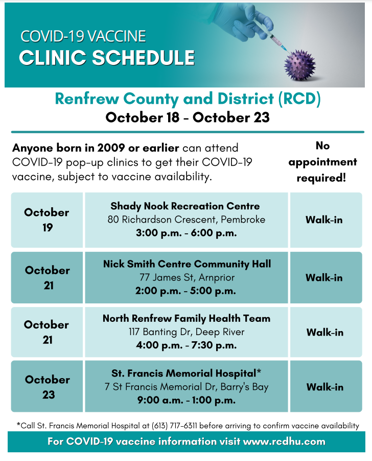 COVID-19 vaccine clinic in Arnprior and Deep River on Thursday