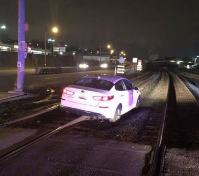 Driver Gets Stuck on Tracks After GPS Gaffe