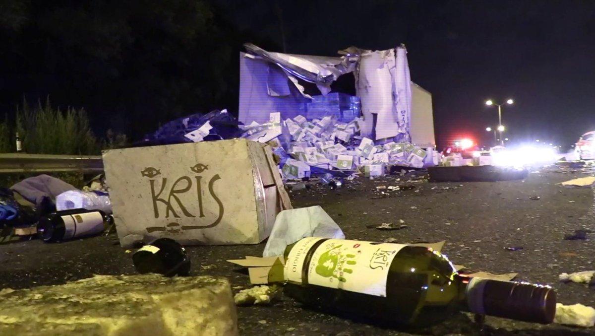 Truck Crash Spills Hundreds of Bottles of Wine Onto Chicago