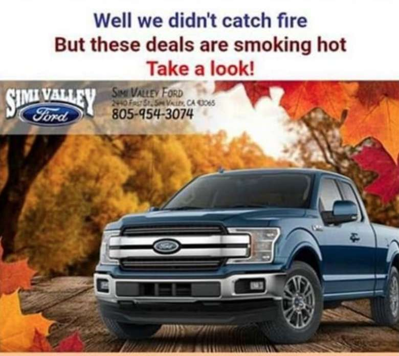 Cali. Ford Dealership Slammed for 'Smoking Hot Deals' Ad During Wildfires