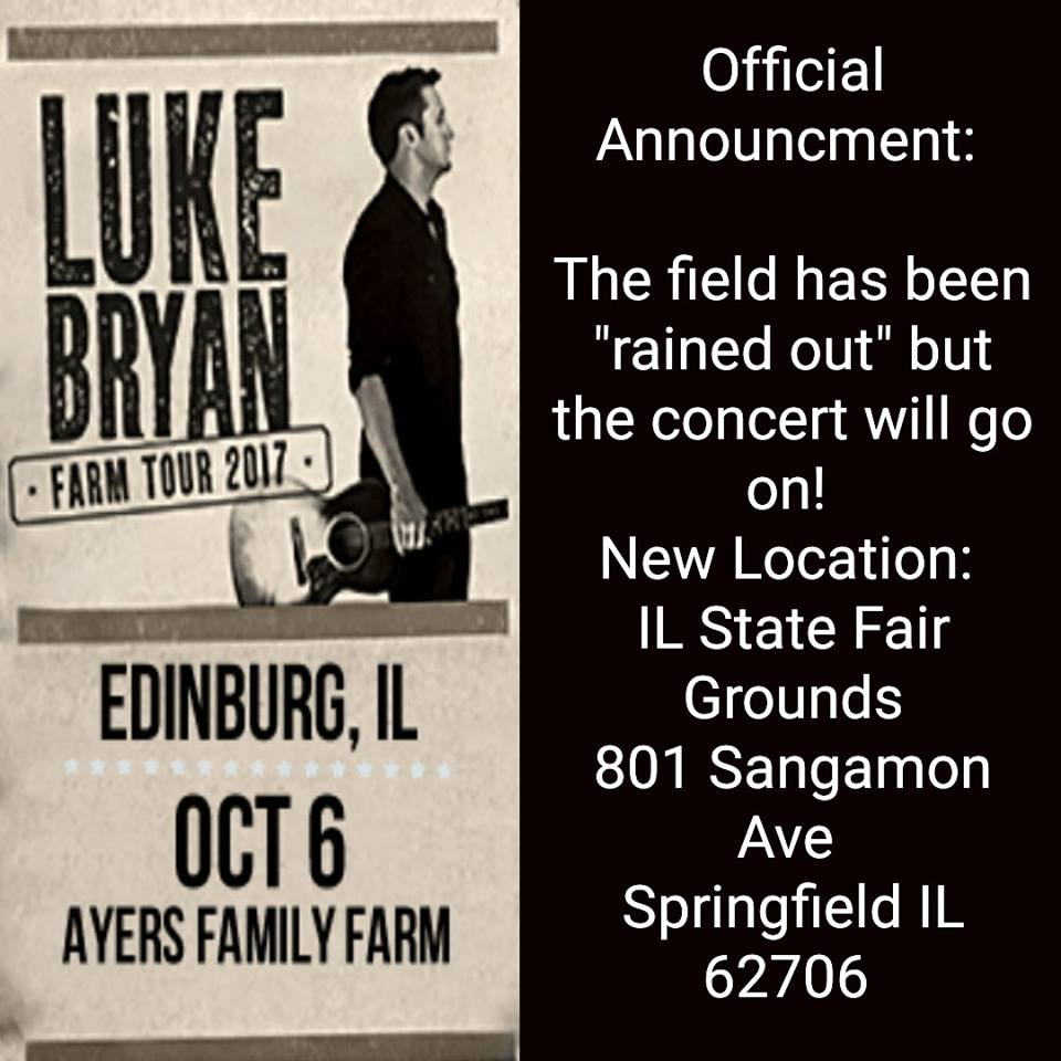 Luke Bryan Farm Tour Venue Change