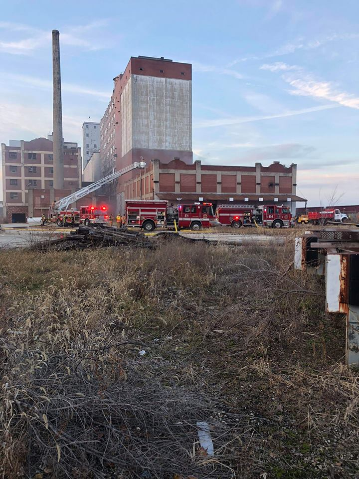 Firefighters Cope With Hazardous Conditions In Blaze At Old Pillsbury Mills