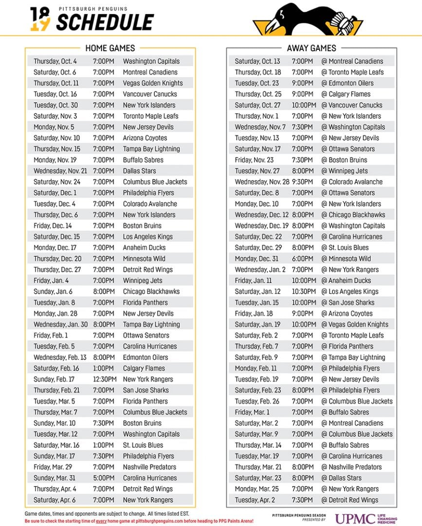 picture relating to Pittsburgh Penguins Printable Schedule titled PENGUINS Launch 2018-2019 Timetable WCCS AM1160 101.1FM