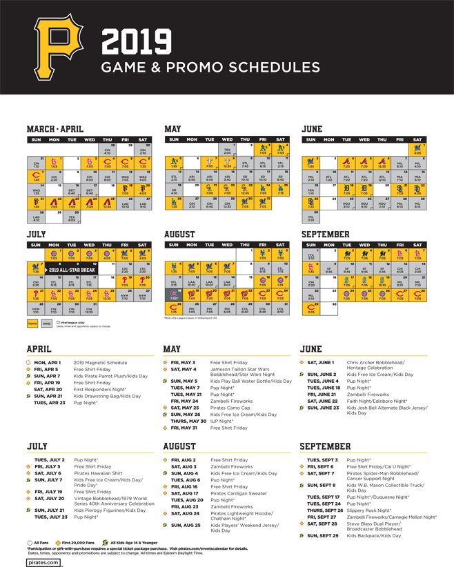 photo about Pirates Printable Schedule titled Pittsburgh Pirates WCCS AM1160 101.1FM