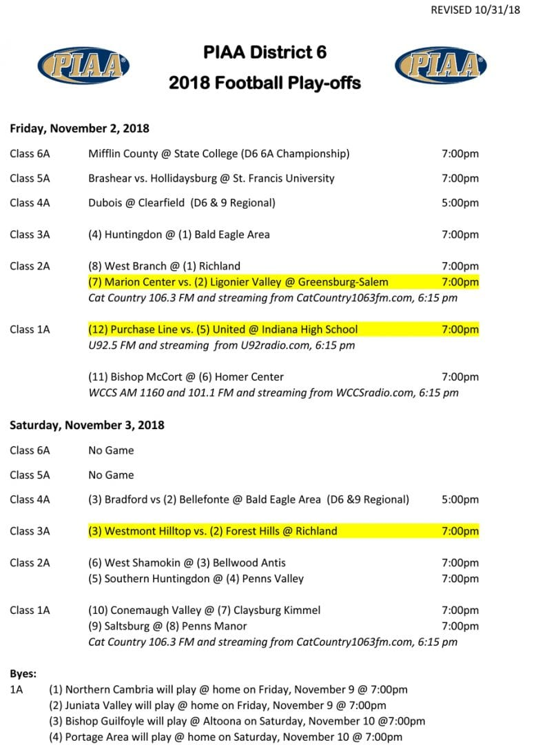 REVISED DISTRICT 6 FOOTBALL PLAYOFF SCHEDULE, NOV 2-3