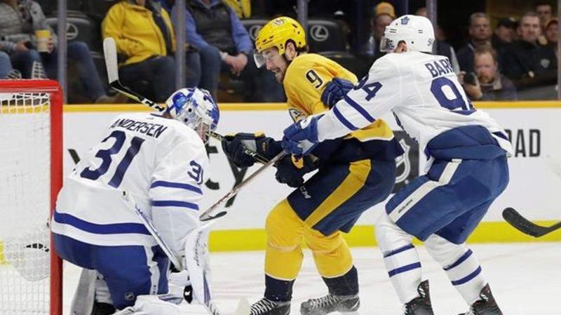 Sandin scores first National Hockey League goal as Leafs beat Predators