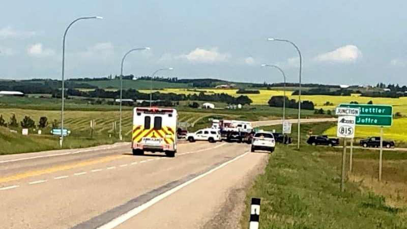 One dead in crash east of Red Deer following police incident