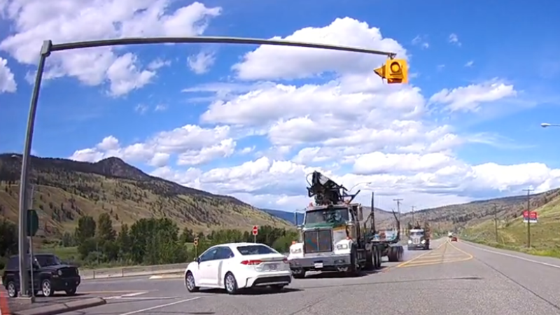 Oh my god!' Dashcam video shows extremely close call near Cache