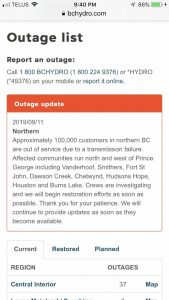 Massive power outage sweeps across Northern BC | CFJC Today