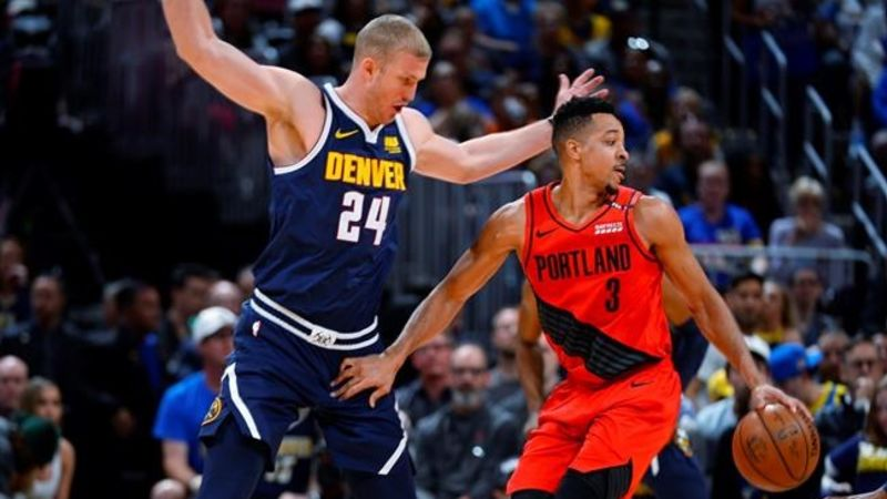 568913af7747 CJ McCollum leads Blazers past Nuggets 100-96 in Game 7