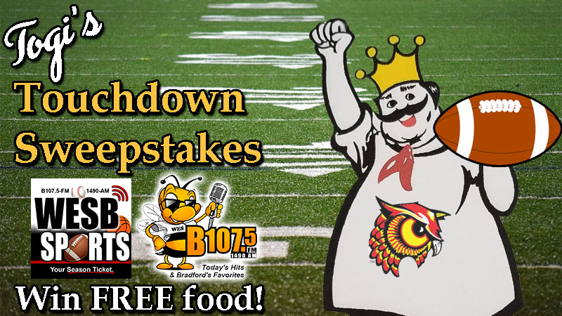 Contest – Togi's Touchdown Sweepstakes | WESB B107 5-FM/1490